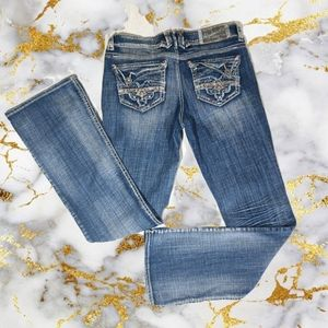Hydraulic Boot Cut Embellished Jeans